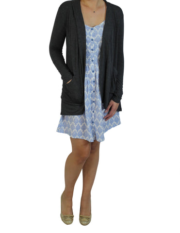 Charcoal Pocket Cardigan (Front) / Ethical Fashion