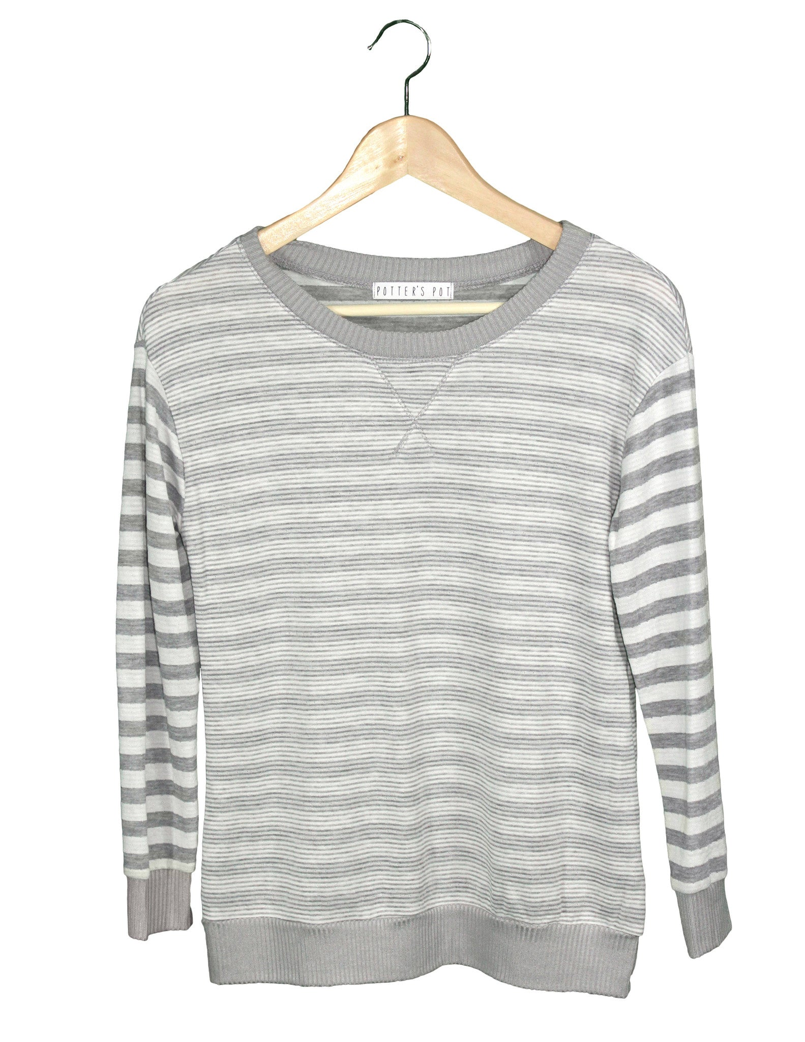 Grey and White Stripe Top / Ethical Fashion