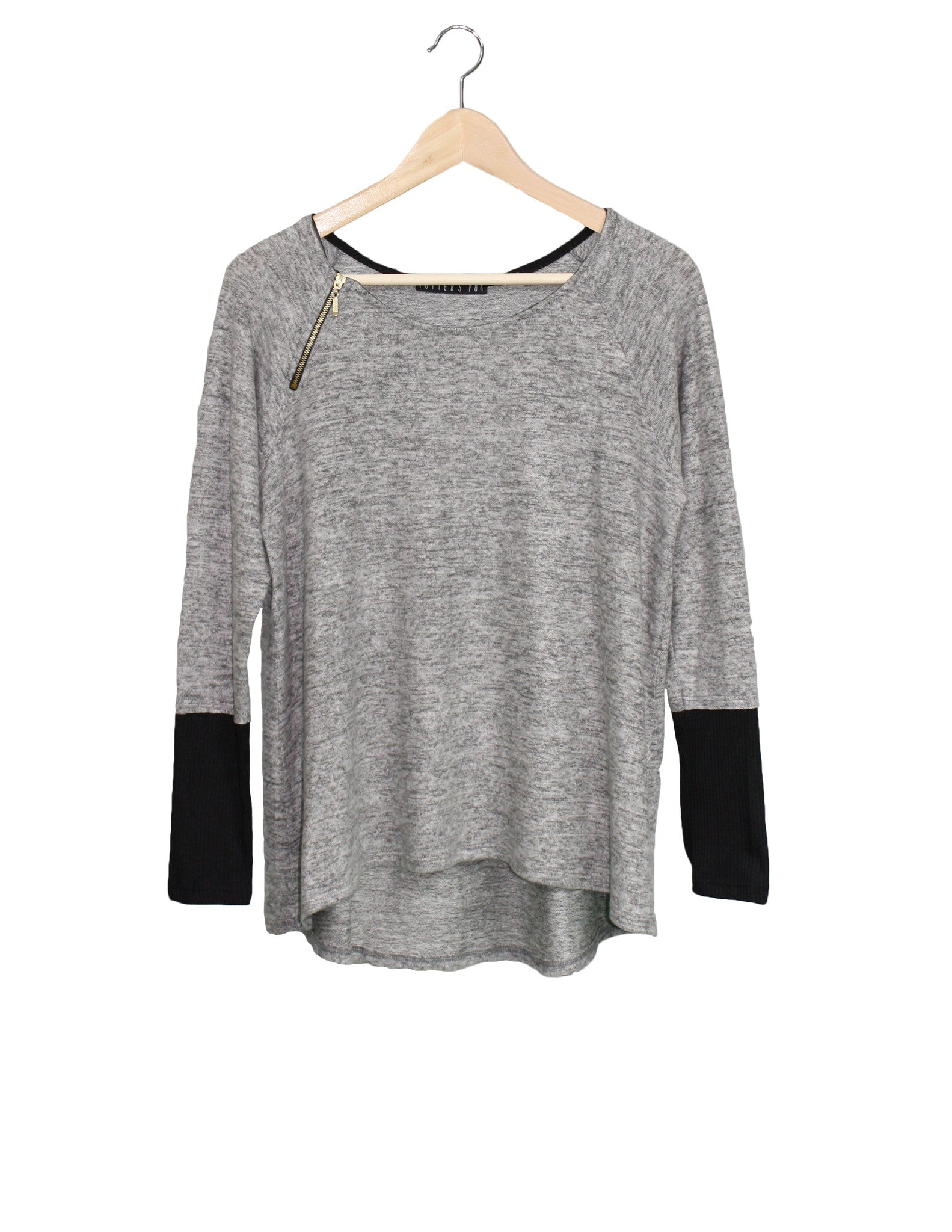 Grey Top with Side Zip / Ethical Fashion
