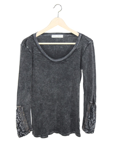 Dark Grey Thermal with Detailed Sleeves / Ethical Fashion
