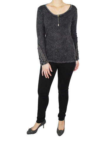 Dark Grey Thermal with Detailed Sleeves (Front) / Ethical Fashion