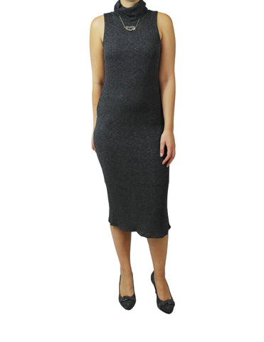 Charcoal Turtleneck Midi Dress (Front) / Ethical Fashion