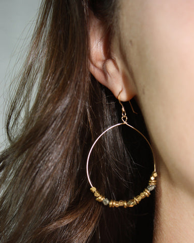 Gold Hoop Earrings (On) / Handmade Jewelry