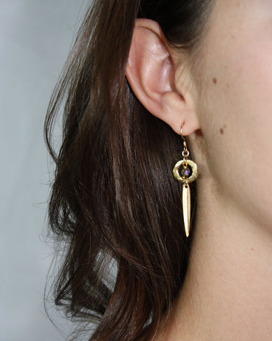 Gold Drop Earrings (On) / Handmade Jewelry