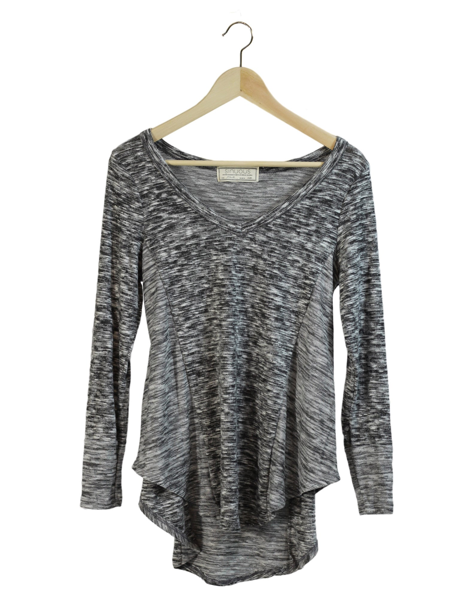 Brushed Grey V-Neck Top / Ethical Fashion