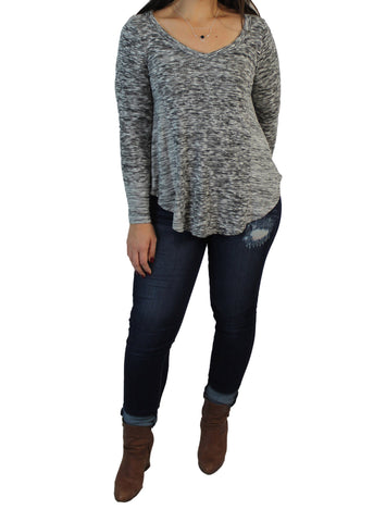 Brushed Grey V-Neck Top Front / Ethical Fashion