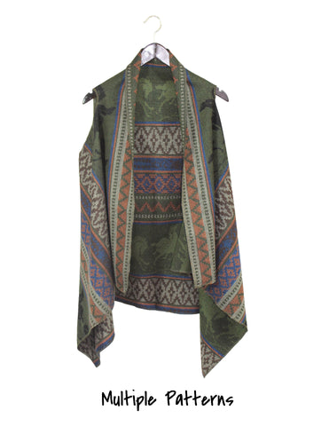 Horse Print Poncho / Ethical Fashion
