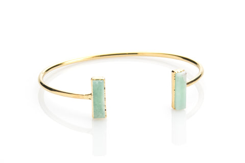 Chrysoprase Bar Cuff / Handmade Jewelry