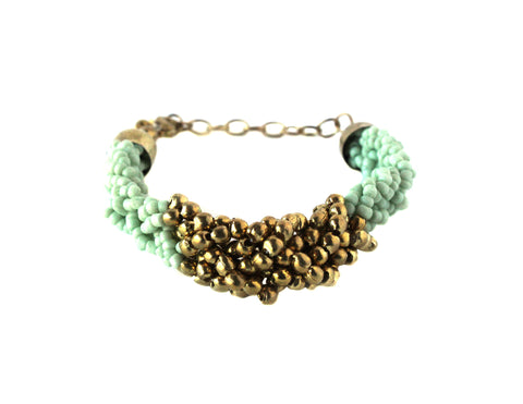 Mint Braided Bead Bracelet / Fair Trade Jewelry