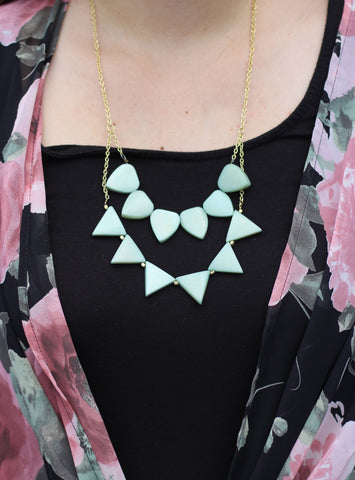 Mint Green Triangle Necklace (On) / Fair Trade Jewelry