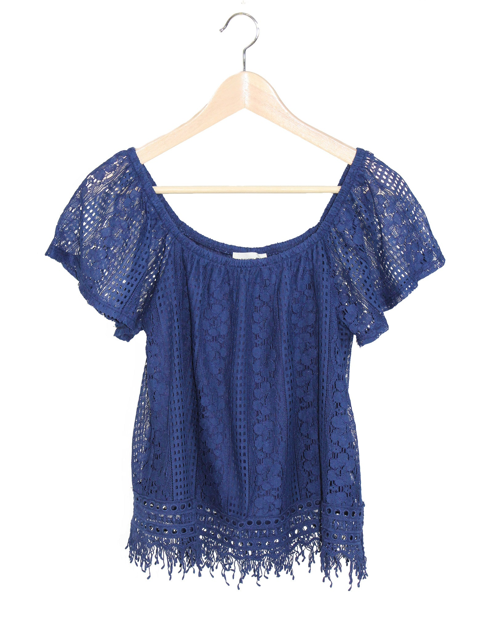 Spanish Navy Lace Top