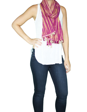Pink Pom-Pom Scarf (On) / Fair Trade
