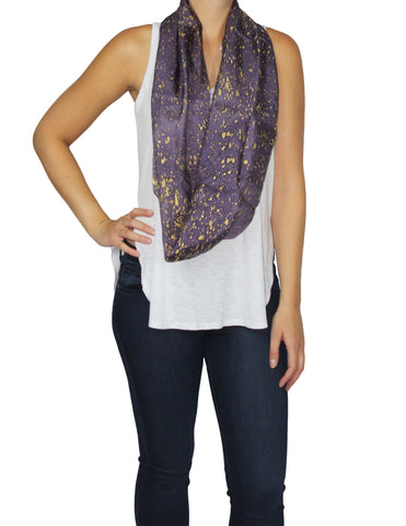 Purple & Gold Silk Speckled Scarf (Long) / Ethical Fashion