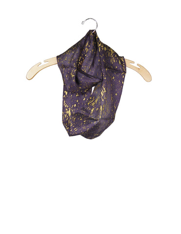 Purple & Gold Silk Speckled Scarf / Ethical Fashion