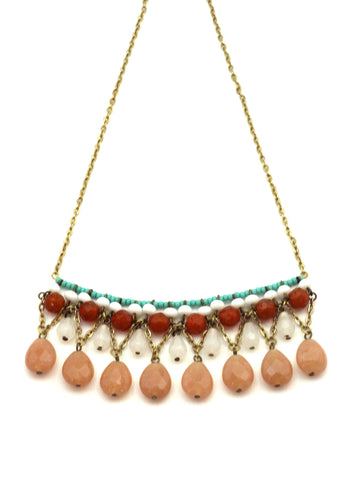 Blush Gem Necklace / Handmade Jewelry