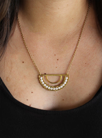 Moon Pearl Necklace (On) / Fair Trade Jewelry