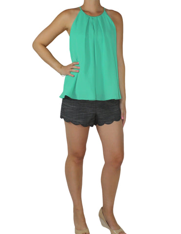 Dark Chambray Scallop Shorts (with Green Top) / Ethical Fashion
