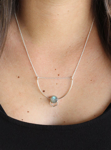 Labradorite Art Deco Necklace (On) / Handmade Jewelry