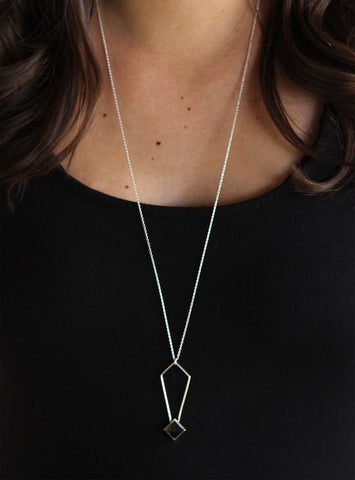 Long Smoky Quartz Gem Peak Necklace