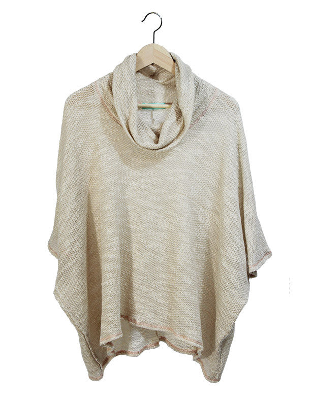 Taupe Cowl-Neck Top