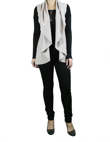 Draped Taupe Vest (Front) / Ethical Fashion