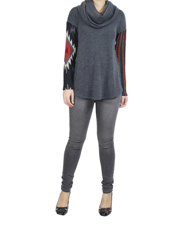 Grey Sweater Patterned Sleeves (Front) / Ethical Fashion