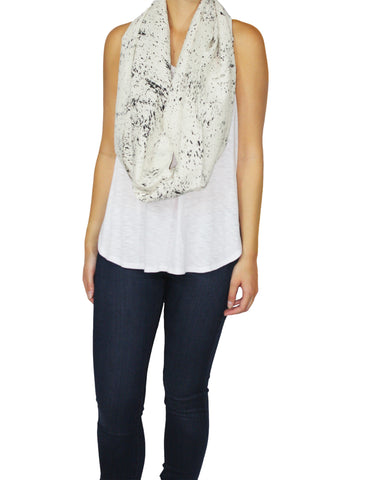 Raw Silk White Speckled Scarf Long