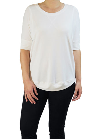 White Half-Sleeve Top | Made in America