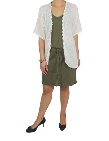 Ivory Knit Pom-Pom Wrap (Front) / Ethical Fashion