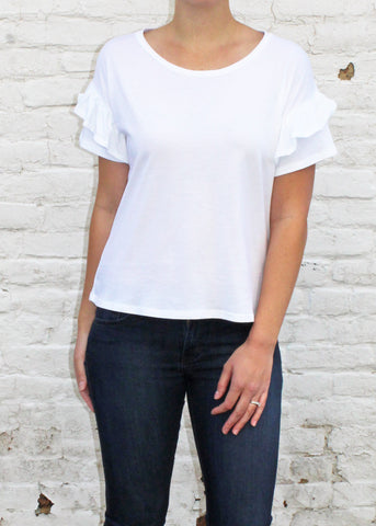 White Flutter Short Sleeve Top | Made in America Clothing