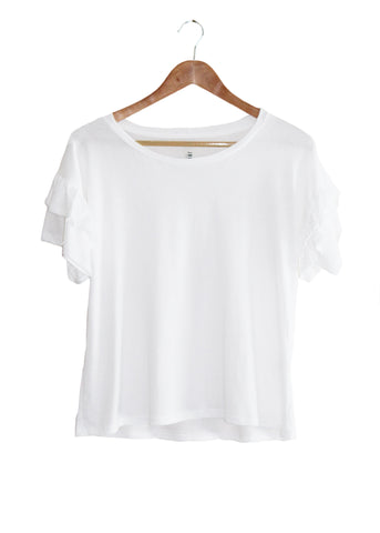 White Ruffle Short Sleeve Top | Made in America Clothing