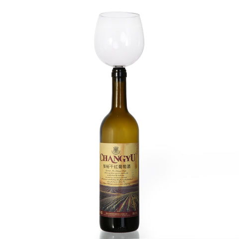 Novelty Wine Glass Bottle Stopper - Drink Directly From The Bottle!