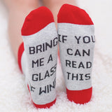 "Funny Novelty Wine Socks ""If You Can Read This Bring Me Wine"" Jacquard Cotton"