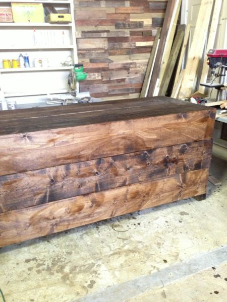 The store counter I built and stained with the help of one of my friends, Crystal Coleman.