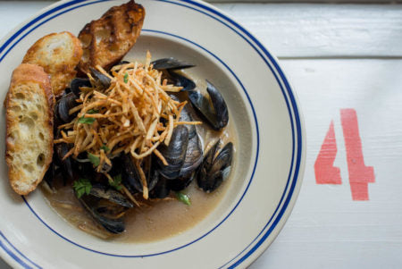 Ballistic Blond Mussels with Belgian Broth, Coriander Citrus Butter and Frites
