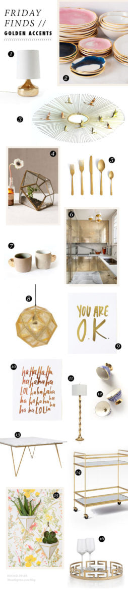 Friday Finds Gold Home Accents by Thimblepress