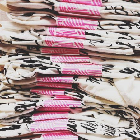 Stacks of our tea towels for our NSS promo