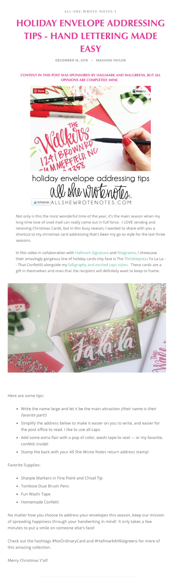All She Wrote Notes | December 2016