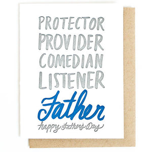 father's day adjectives letterpress card