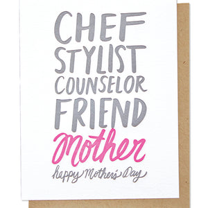 mother's day adjectives letterpress card