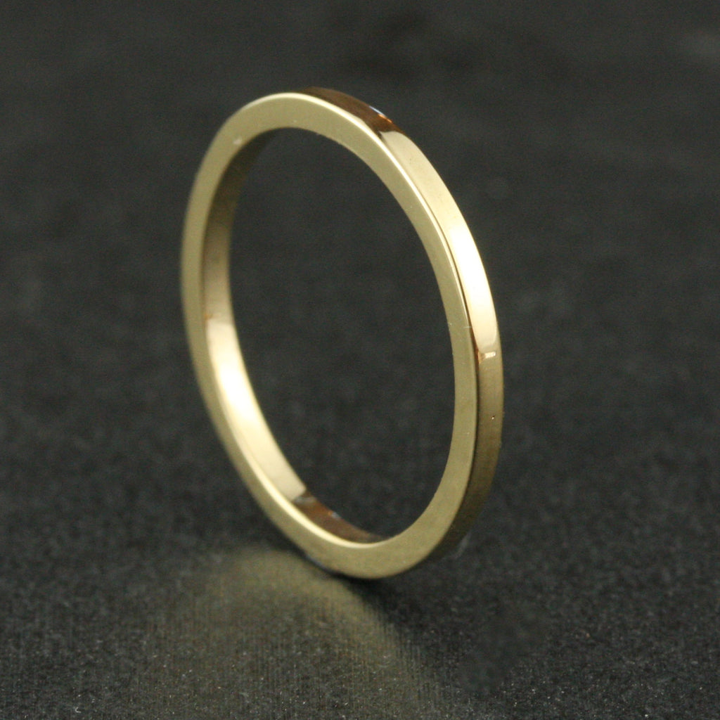 1.5mm Square Wedding Band - 22k Gold