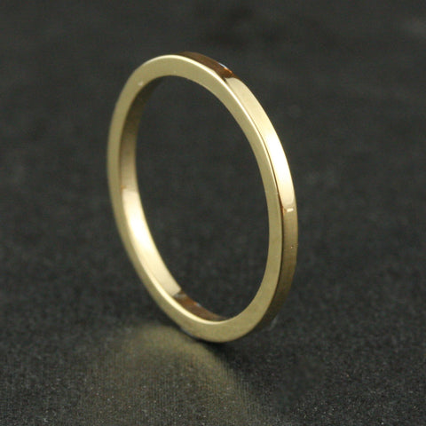 1.5mm Square Wedding Band - 24k Gold