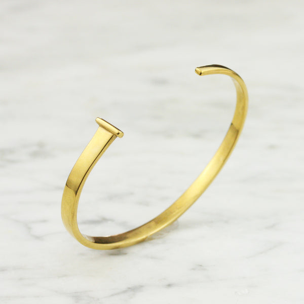 Womens Hand Forged Gold Square Nail Bracelet - 14k or 18k