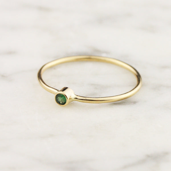Tiny Emerald Stacking Ring - 14k or 18k Gold