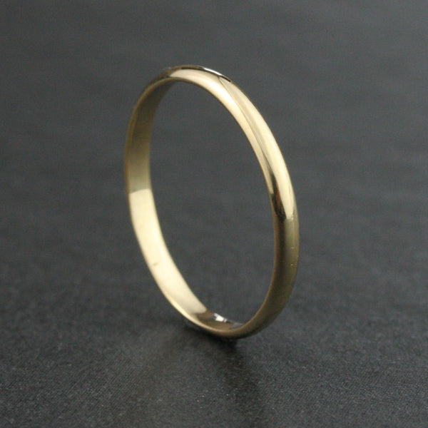 2mm Half Round Wedding Band Ring - 14k