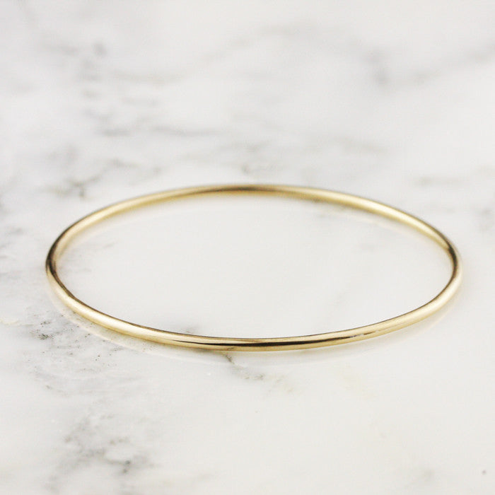 2mm Yellow Gold Bangle Bracelet - 14k or 18k