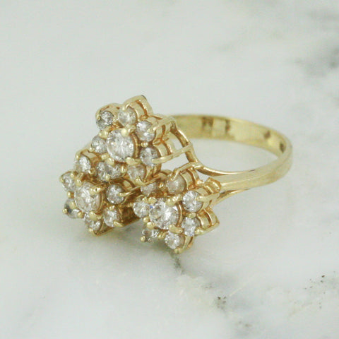 14k Gold .97 Carat Diamond Cluster Ring - Posy Ring - Flower Ring - Diamond Engagement Ring