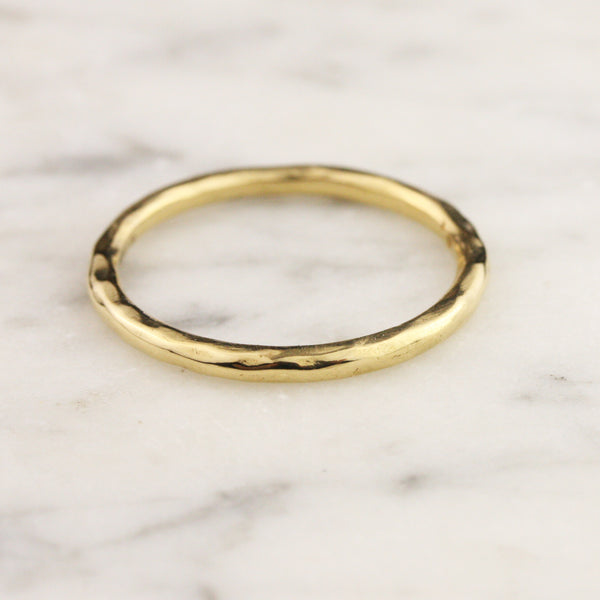 1.8mm Hammered Full Round Stacking Ring - 24k