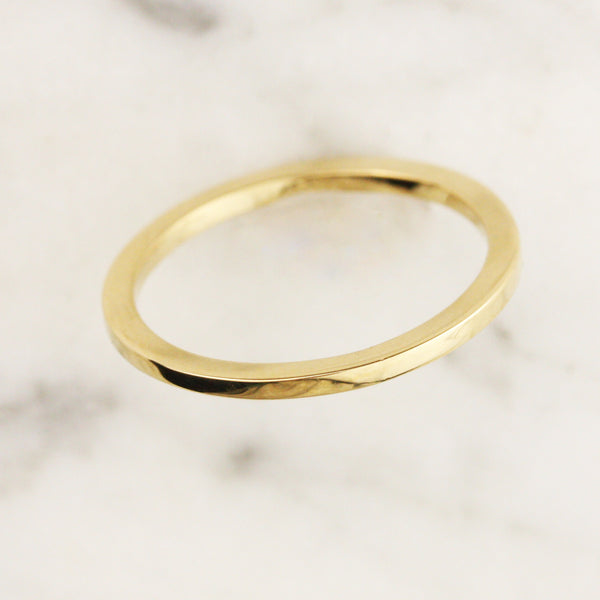 1.25mm High Rise Rectangle Wedding Band - 14k Gold