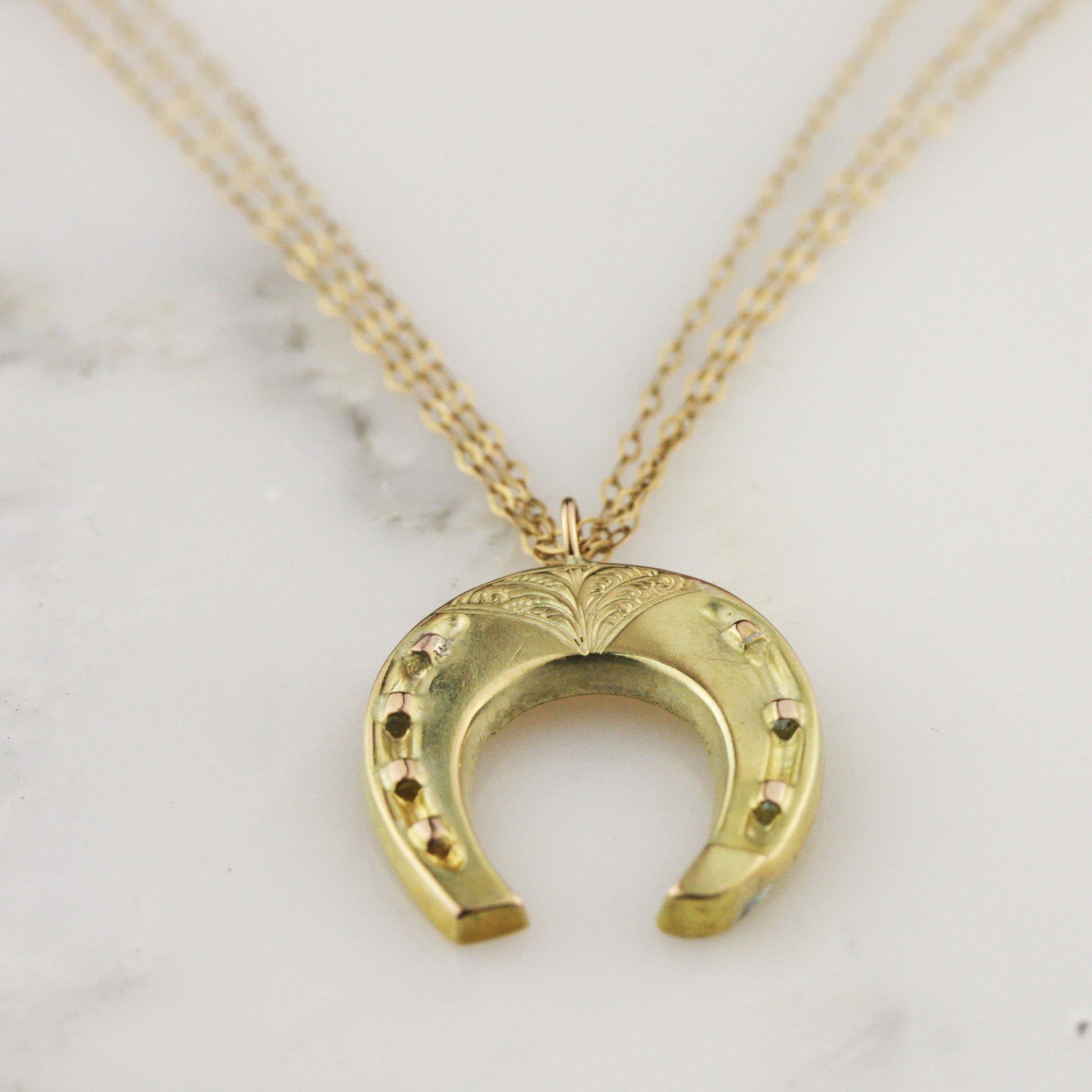 floating watches necklace yellow shipping gold pendant today zirconia jewelry cubic horseshoe product overstock free
